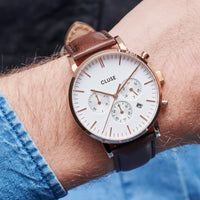 CLUSE Aravis chrono leather rose gold white/dark brown CW0101502002 - Horloge op de pols