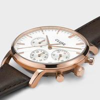CLUSE Aravis chrono leather rose gold white/dark brown CW0101502002 - Detail horlogekast