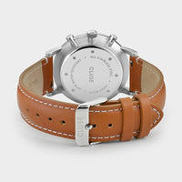 CLUSE Aravis chrono leather silver white/light brown CW0101502003 - Sluiting horloge