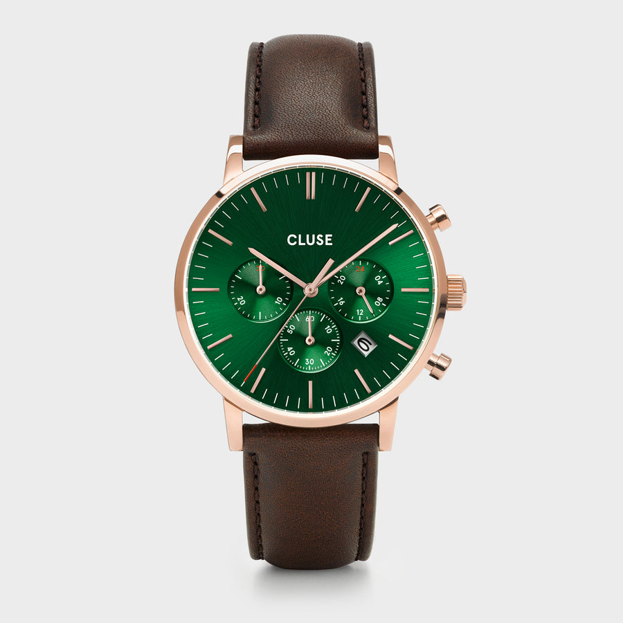 CLUSE Aravis chrono leather rose gold green/dark brown CW0101502006 - Horloge