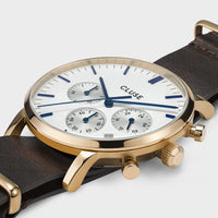 CLUSE Aravis chrono nato leather gold white/dark brown CW0101502009 - Detail horlogekast