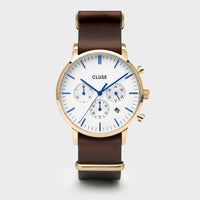 CLUSE Aravis chrono nato leather gold white/dark brown CW0101502009 - Horloge