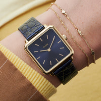 CLUSE La Tétragone Leather Gold Blue/Blue Alligator - horloge op de pols