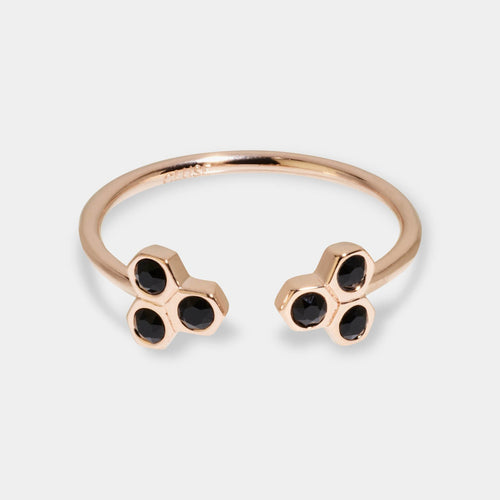 Image: CLUSE Essentielle Rose Gold Black Crystal Hexagons Open Ring CLJ40008-52 - ring maat 52