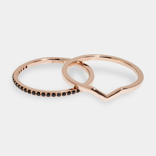 Image: CLUSE Essentielle Rose Gold Chevron And Black Crystal Ring Set CLJ40004-54 - set van ringen maat 54