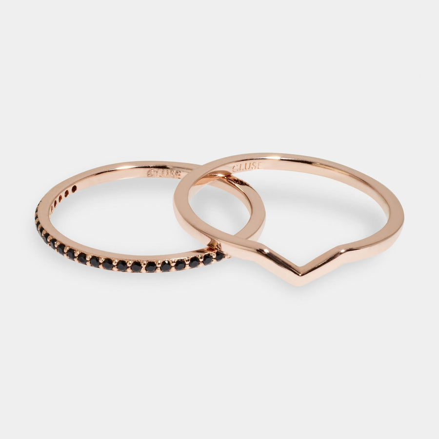 CLUSE Essentielle Rose Gold Chevron And Black Crystal Ring Set CLJ40004-54 - set van ringen maat 54