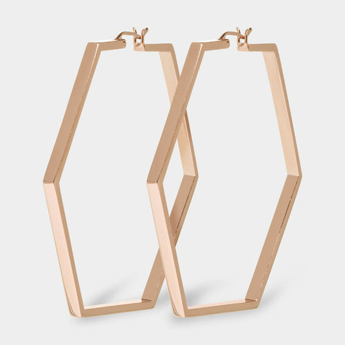 Image: CLUSE Essentielle Rose Gold Large Hexagonal Hoop Earrings CLJ50003 - oorbellen