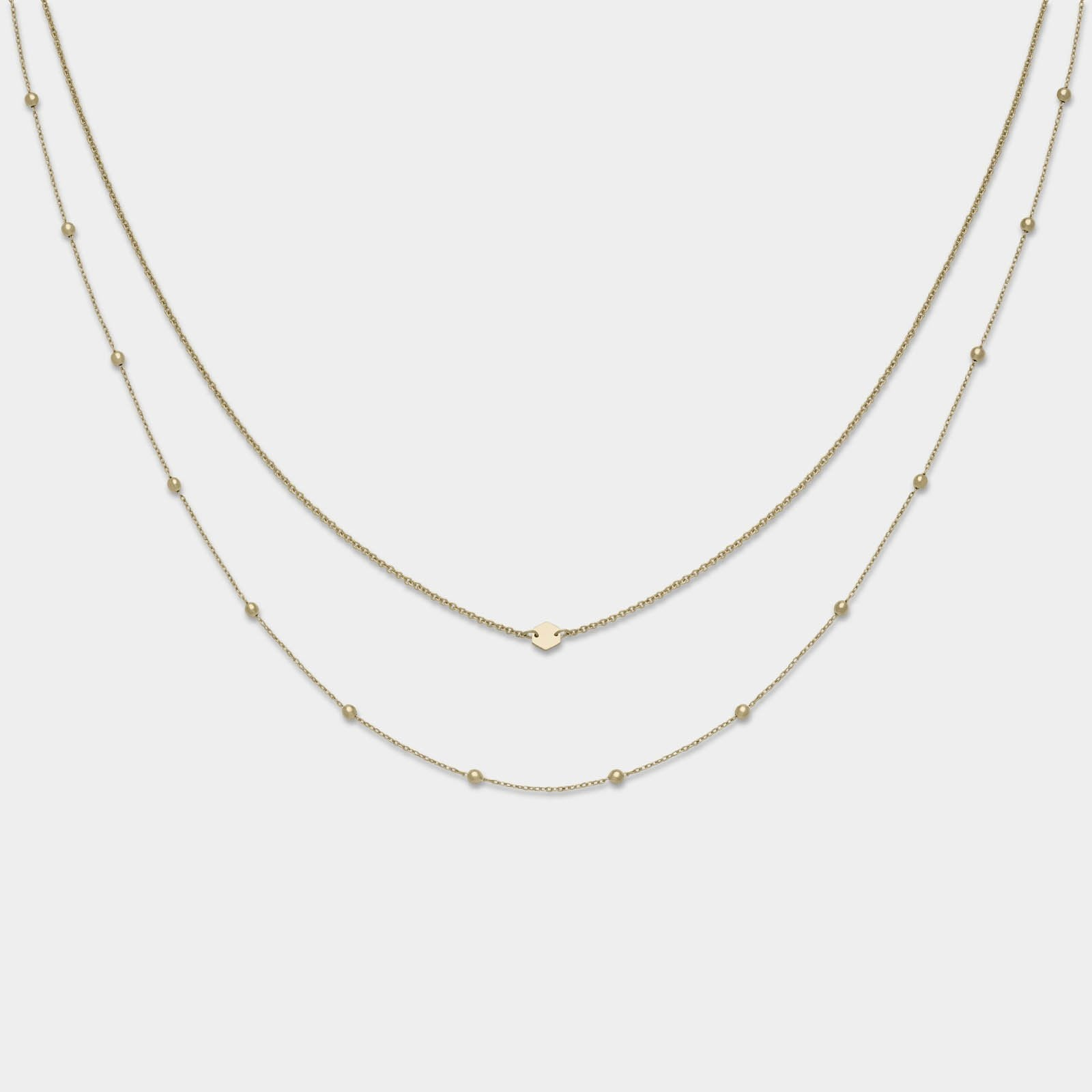 CLUSE Essentielle Gold Set of Two Necklaces with Petite Hexagon CLJ21004 - halskettingen