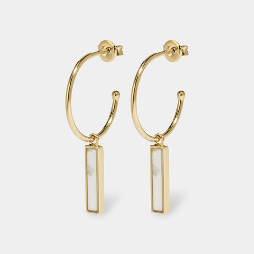 Image: CLUSE Idylle Gold Marble Bar Hoop Earrings CLJ51001 - oorbellen