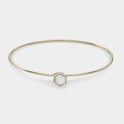 Image: CLUSE Idylle Gold Marble Hexagon Bangle Bracelet CLJ11002 - armbandje