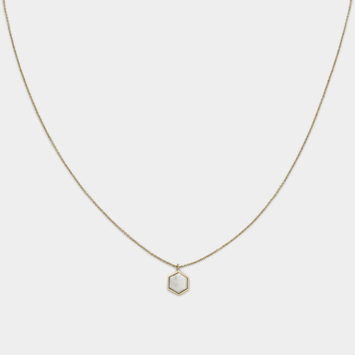 Image: CLUSE Idylle Gold Marble Hexagon Pendant Necklace CLJ21008 - halsketting