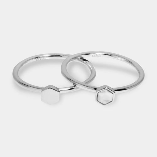 Image: CLUSE Idylle Silver Solid And Marble Hexagon Ring Set CLJ42001-52 - set van ringen maat 52