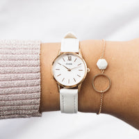 CLUSE La Vedette Leather Rose Gold White/White CW0101206005 - Horloge op de pols