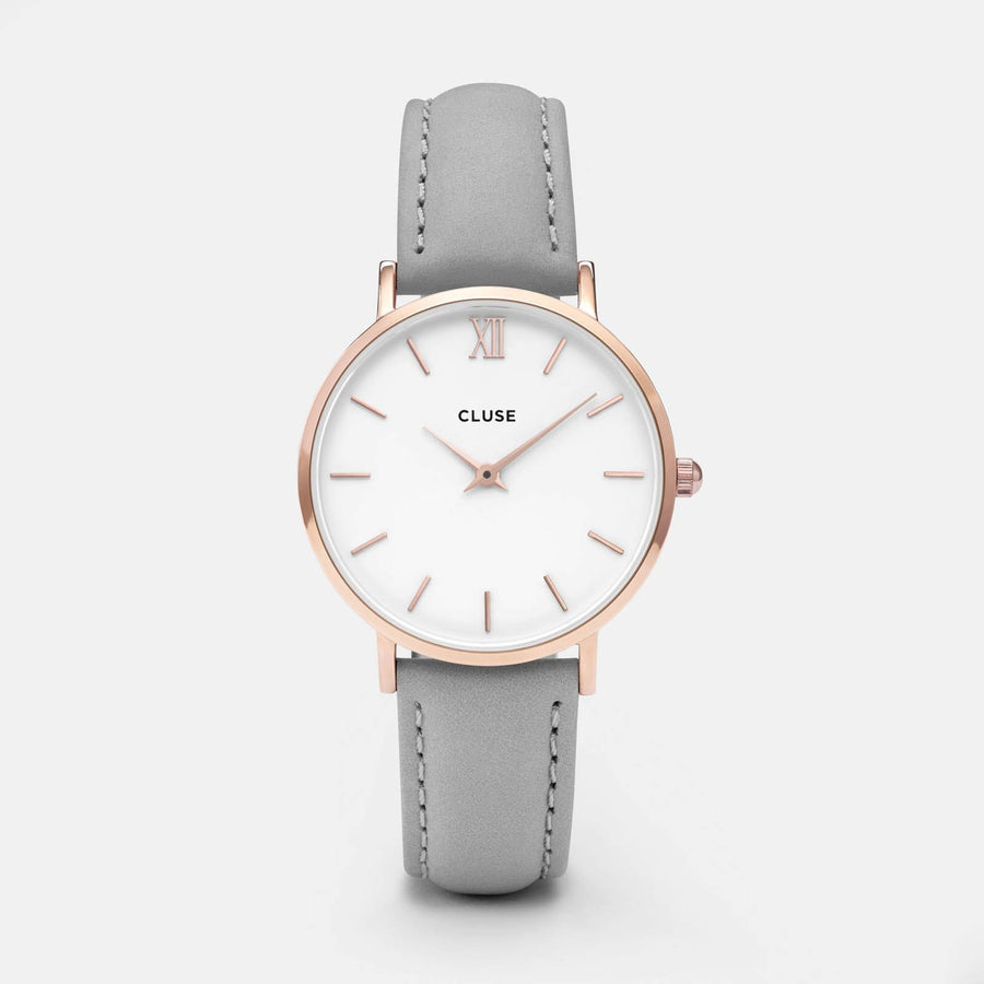 CLUSE Minuit Rose Gold White/Grey CL30002 - horloge