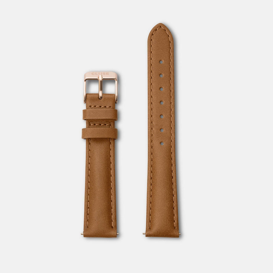 CLUSE Strap 16 mm Leather Caramel/Rose Gold CS1408101025 - Bandje