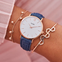 16 mm Strap Blue Denim/Rose Gold