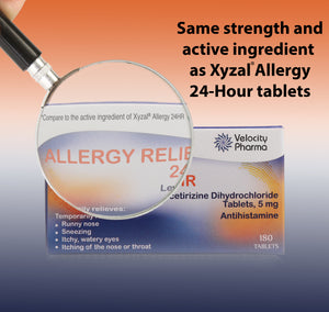 Allergy Relief 24HR | Generic Xyzal Levocetirizine Dihydrochloride 5mg | 180 Count Tablets