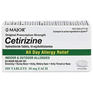 Major All Day Allergy Cetirizine 10mg 100 count Tablets