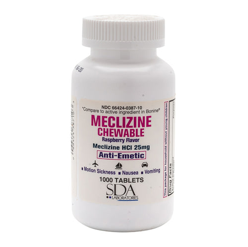MECLIZINE 25MG 1000CT CHEWABLE TABLETS by SDA LABS