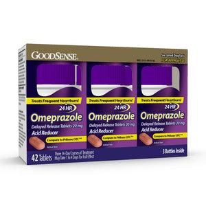 Omeprazole Delayed Release Tablets 20 mg, Acid Reducer, Treats Heartburn, 42 Count
