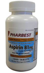 PHARBEST Aspirin 81mg - 1000 Tablets
