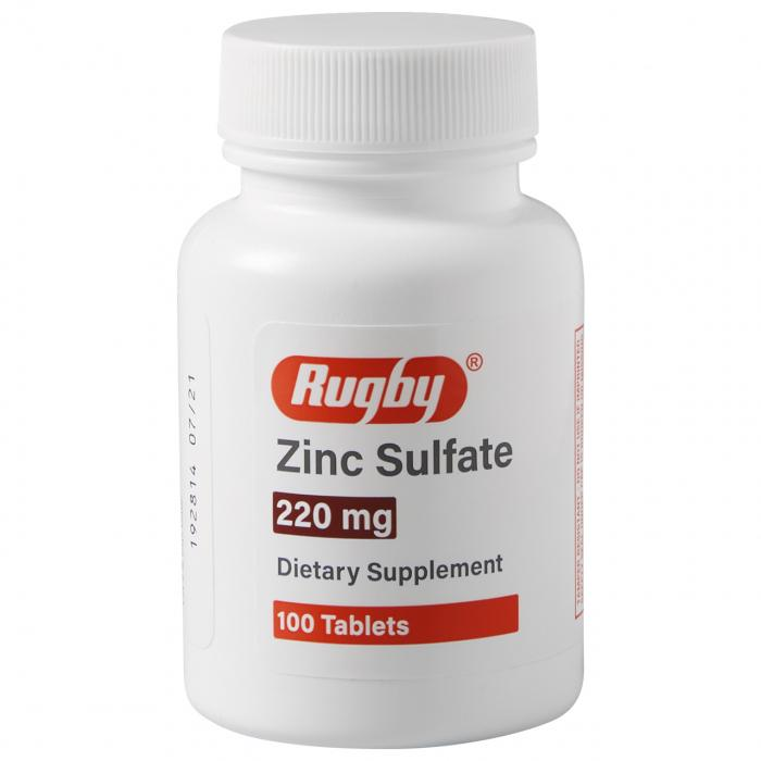 Zinc Sulfate 220 mg 100 Count Tablets | Dietary Supplement