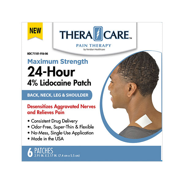 THERACARE LIDOCAINE 4% 24-HOUR PATCH | 6 COUNT | MAXIMUM STRENGTH