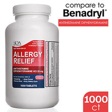 Load image into Gallery viewer, Allergy Relief | Diphenhydramine HCl 25mg 1000 Tablets | Relief for Itchy-Watery Eyes, Sneezing, Runny Nose | Indoor & Outdoor