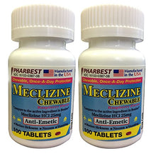 Load image into Gallery viewer, Meclizine 25 mg Generic For Bonine Chewable Tablets for Prevention of Motion Sickness and Anti-Nausea 100 Tablets per Bottle Pack of 2 Total 200 Tablets
