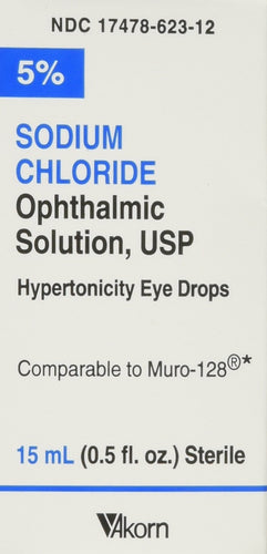 Akorn USP 5 Sodium Chloride Ophthalmic Solution, 0.5 Fluid Ounce