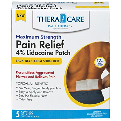 Maximum Strength Pain Relief - 4% Lidocaine Patches (5 Count) x 3-Pack (15 Patches)