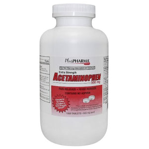 PlusPharma Acetaminophen 500mg Tablets (Compare to Tylenol Extra Strength) 1000ct