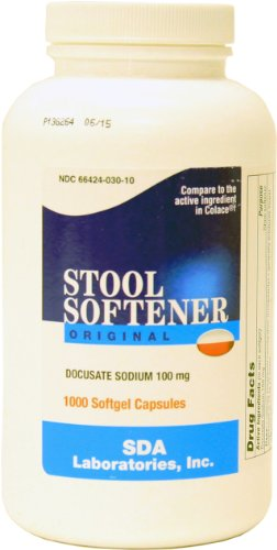 Stool Softener Docusate Sodium 1000 Softgels, Compares to Colace, 100 mg each