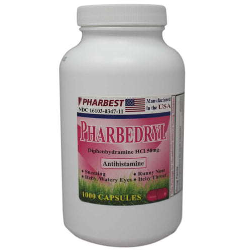Pharbedryl  | Diphenhydramine HCl 50 mg | 1000 Count Capsules