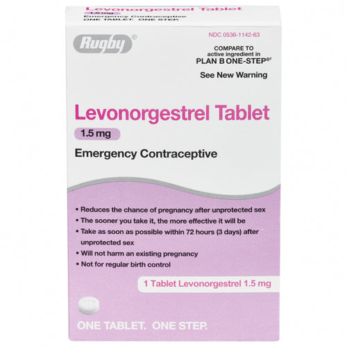 RUGBY LEVONORGESTREL 1.5MG ONE TABLET Emergency Contraceptive Compare to Plan B
