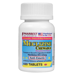 Meclizine HCL 25 mg 100 Count Chewable Tablets