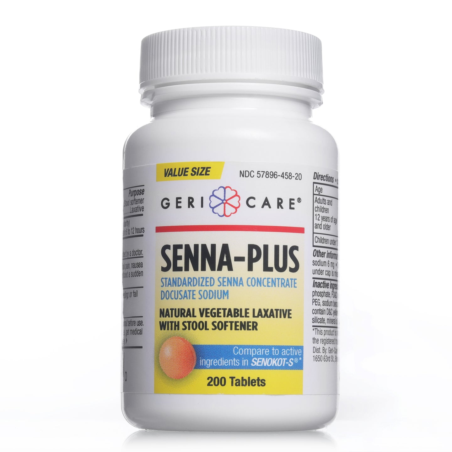 Senna Plus | Natural Vegetable Laxative with Stool Softener - 200 Count Tablets