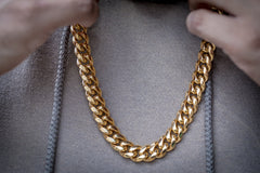 Golden Gilt 14mm Miami Cuban Link Necklace