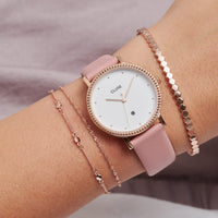 CLUSE Essentielle Rose Gold Set of ​Two ​twisted and Hexagon Chain Bracelets CLJ10019 - Bracelet on wrist