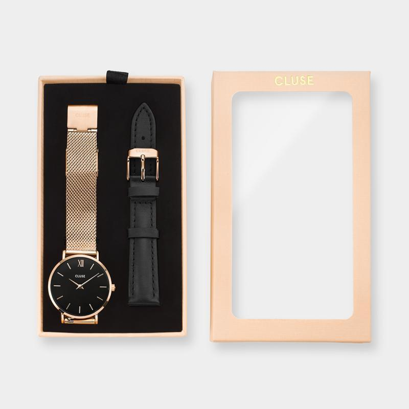Aviation Box Minuit Mesh Gift Box Rose Gold Black with Black Strap CLA004 - Pacco regalo