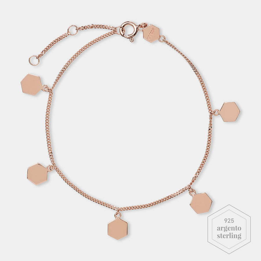 CLUSE Essentielle Rose Gold Hexagon Charms Chain Bracelet CLJ10018 - Bracciale
