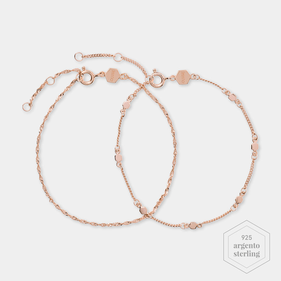 CLUSE Essentielle Rose Gold Set of ​Two ​twisted and Hexagon Chain Bracelets CLJ10019 - Bracciale