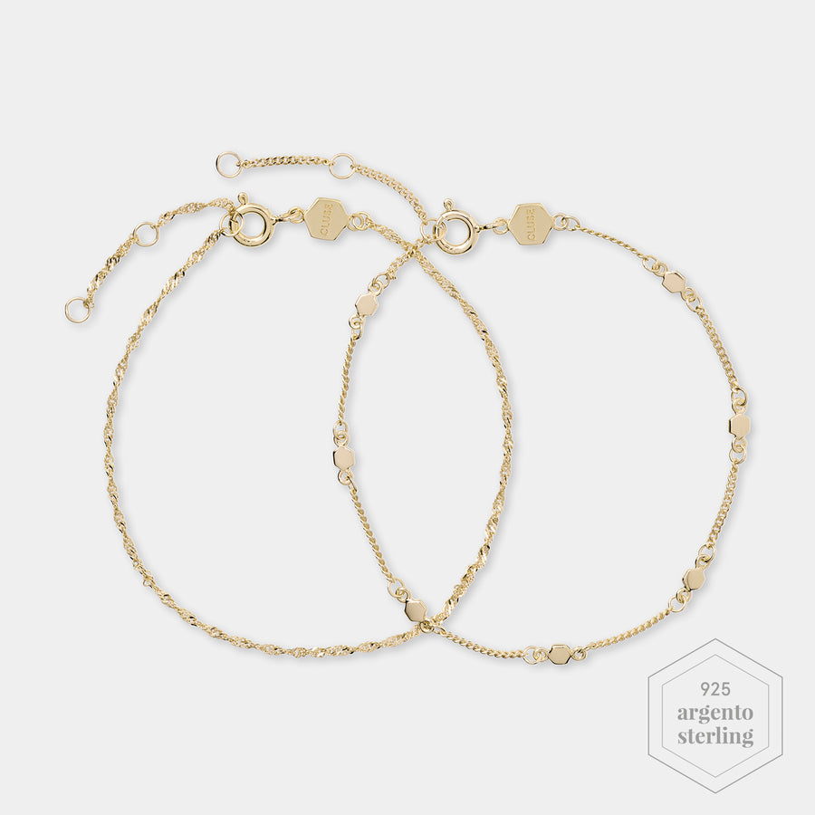 CLUSE Essentielle Gold Set Twisted and Hexagon Chain Bracelet CLJ11019 - Braccialetti