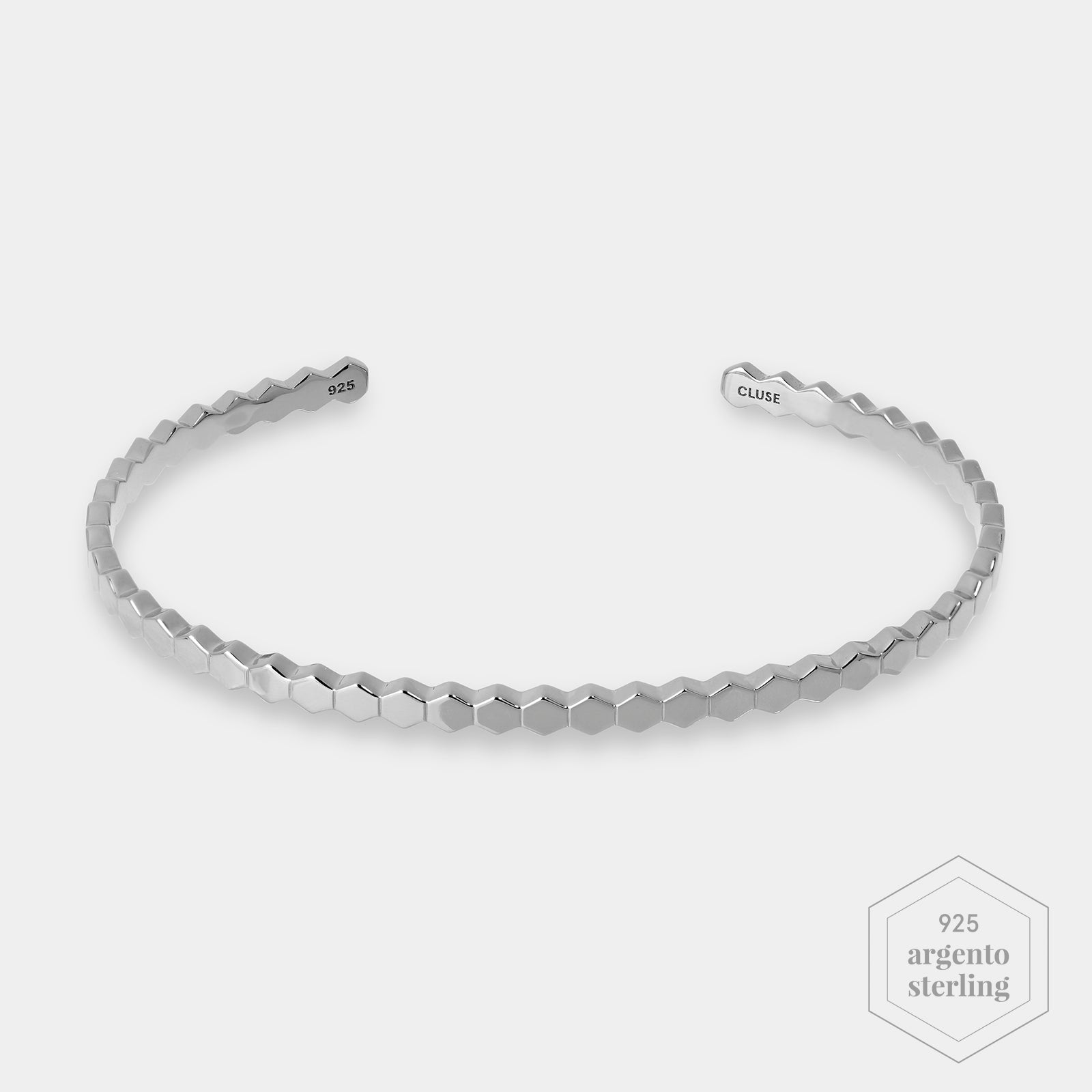 CLUSE Essentielle Silver ​All Hexagons Bangle Bracelet CLJ12017 - Bracciale