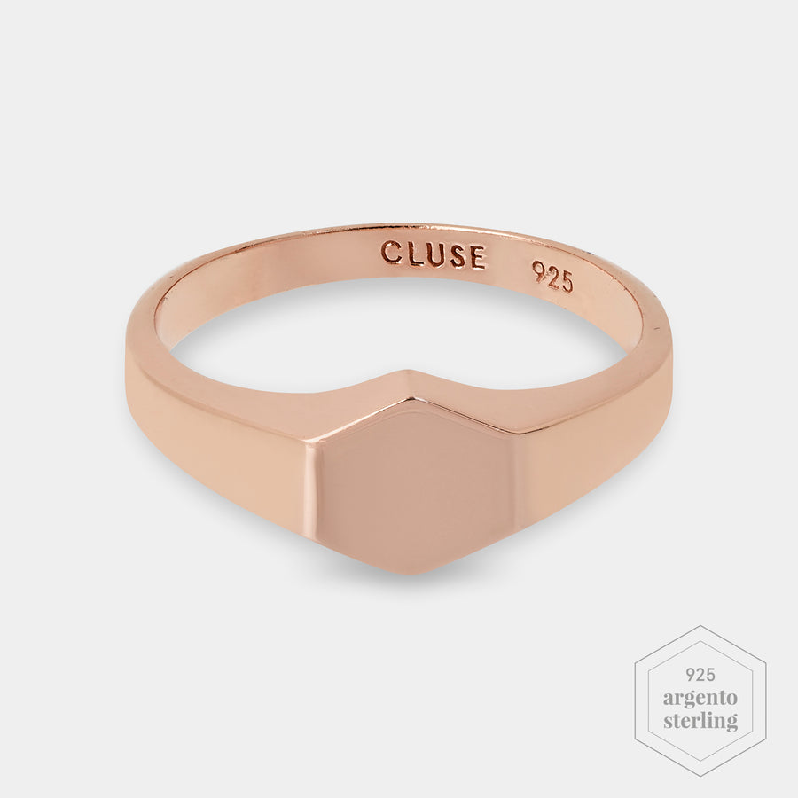 CLUSE Essentielle Rose Gold Hexagon Ring 56 CLJ40011-56 - Ring size 56