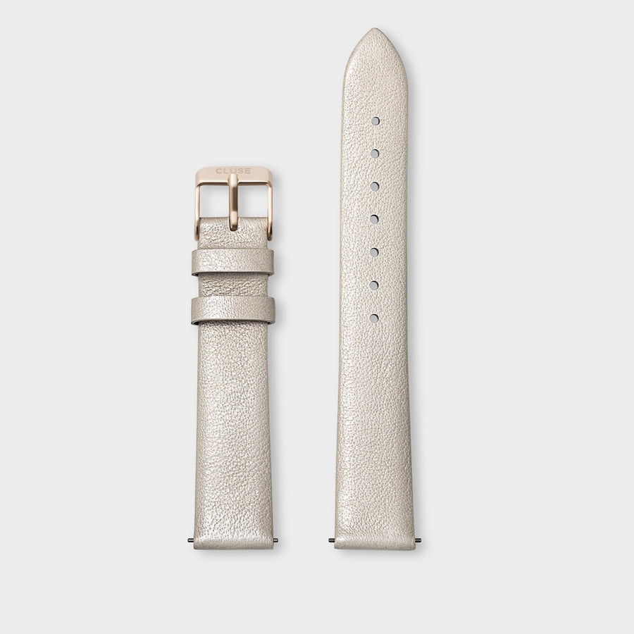 CLUSE Strap 16 mm Leather Warm White Metallic/ Rose Gold - Cinturino