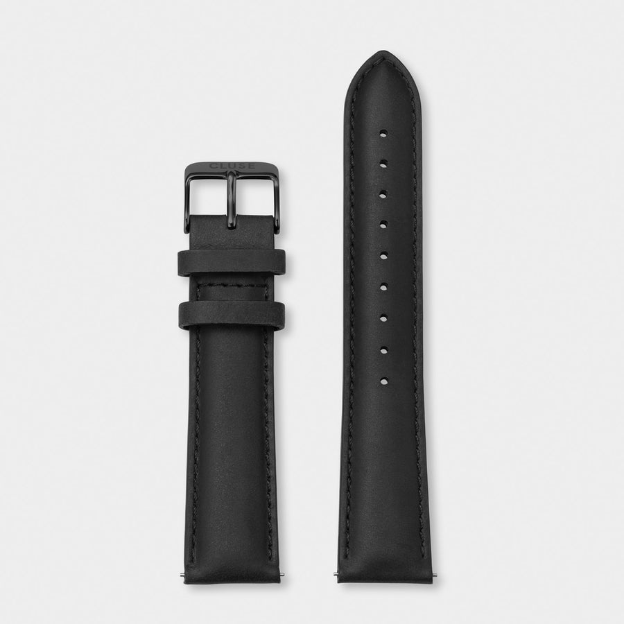CLUSE Strap 20 mm Leather, Black/ Black CS1408101068 - Cinturino