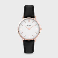 CLUSE Minuit Leather Rose Gold White/Black CW0101203020 - Orologio