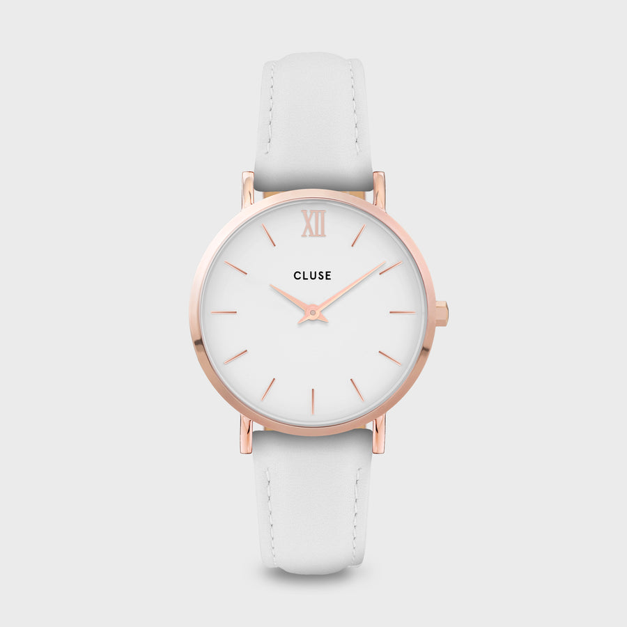 CLUSE Minuit Leather Rose Gold White/White White CW0101203021 - Orologio