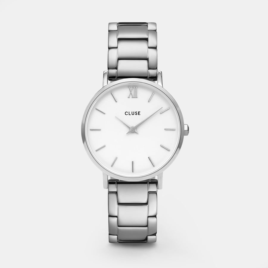 CLUSE Minuit 3-Link Silver White/Silver - Orologio